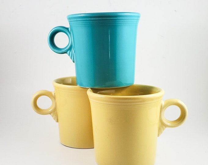 3 Vintage Collectible Fiestaware Mugs in Blue and Yellow, Homer Laughlin