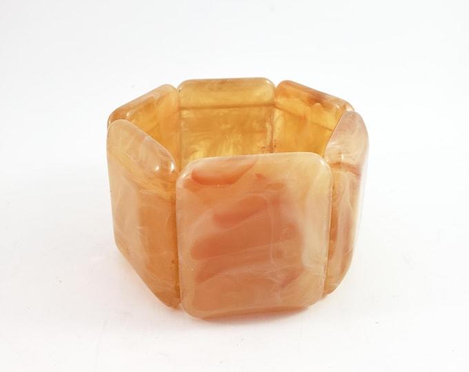 Gorgeous Acrylic tile Translucent Caramel Elasticized mottled  Lucite Bangle