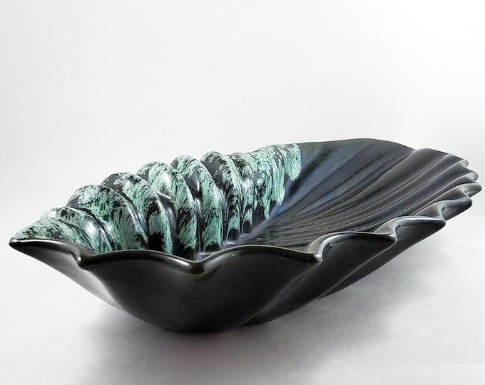 Mid Century Deep Drip Glaze Green Sea Shell Ashtray/Trinket Dish