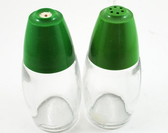 Simple Green Top and Clear Glass MCM Salt and Pepper Shakers