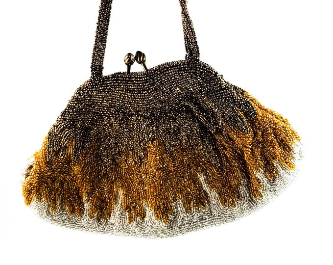 Magnificent Hand Beaded Gold and Silver  Evening Bag with Beaded strap