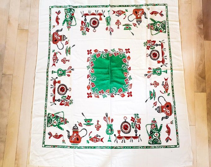1950's Cotton Tablecloth with Primarily Red and Green Birds, Flowers and Coffee Pots Motif
