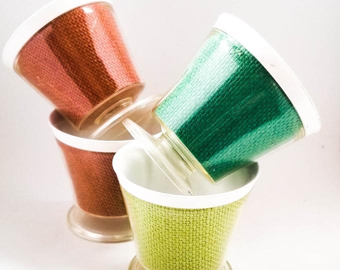 Vintage Raffia Ware/ 4 Cups/Ice Cream Cups Collectible Raffia Ware/Tiki Party