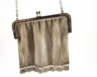 Magnificent Antique Gun Metal Silver Mesh/Maille Evening Bag w/ strap/Antique 1900s Handbag Kiss Lock