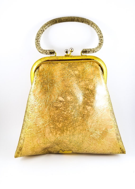 Vintage Stunning 1960's Gold Plastic Handbag/Purse