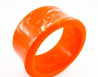 Gorgeous Lucite Bangle in Orange with Subtle Marbling