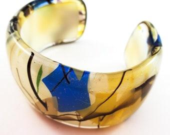 Stunning Glass Hand Painted Demi Bangle/ Bracelet