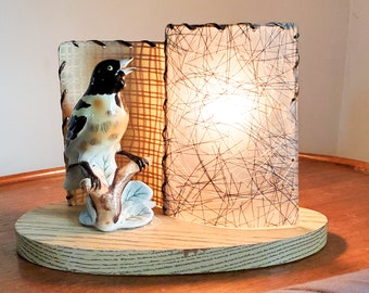 Super Cute 1950's Vintage Mid Century Ceramic Accent/Table Lamp with Ceramic Bird and Fibreglass Double Curved Screens