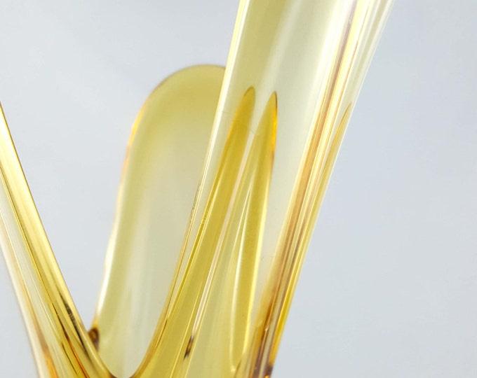 Czech Amber Glass Bud Vase