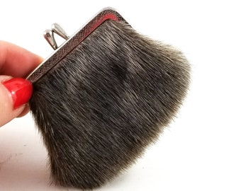 Beautiful Tiny Vintage 1950's Brass and Fur Change Purse with Black Suede Lining and Kiss Clasp Closure