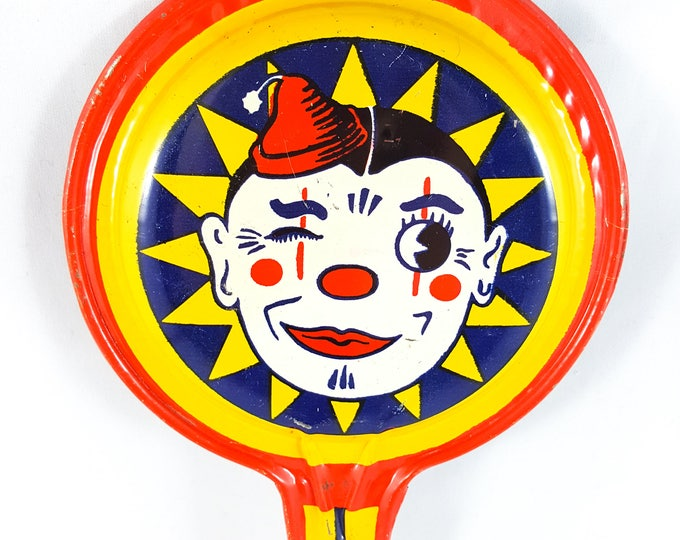 WinkingToothless Clown, Party Favor, New Years, Art Deco, Clanger Bell, US Metal Toy and Kirchhof
