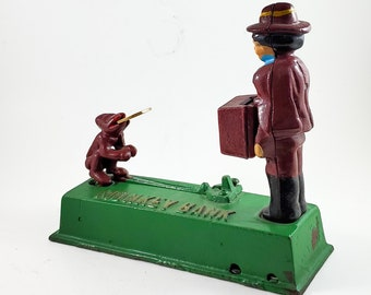 Classic Cast Iron Mechanical Bank. Monkey and Organ Grinder.