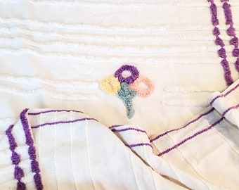 Gorgeous Vintage Chenille Bedspread with White Ribbing and  Purple Borders and Centre Detail and Yellow, Pink and Teal Florals