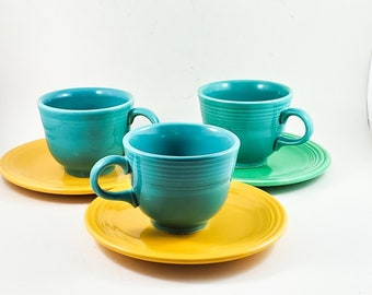 Beautiful Vintage Fiesta Ware Turquoise Blue Tea Cups with 3 saucers in yellow and green - Made by Homer Laughlin. x3
