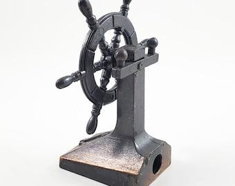 Miniature Bronze/Cast Iron Ships Wheel/Helm Pencil Sharpener  with Moving Wheel.  Works! Stocking Stuffer!
