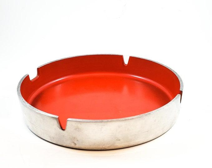 Mid Century Red Round Acrylic Ashtray/Trinket Dish with Chrome Sleeve
