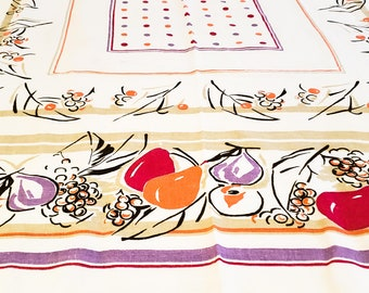 Red, Orange and Purple 1950's Rectangular Tablecloth with Polka Dot and Stylized Fruit Motif