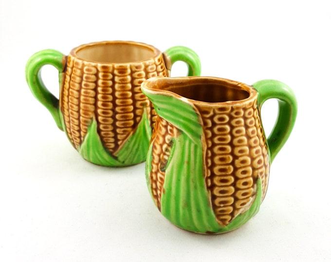 Adorable Corn Motif Creamer and Sugar Bowl