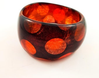 Gorgeous Red and Gold Glitter Polka Dot Acrylic  Bangle