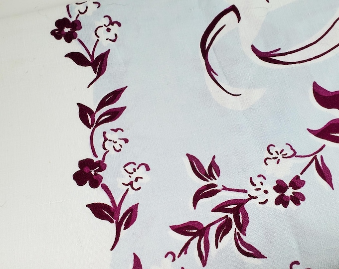1950's Country Kitchen Square Cotton Tablecloth with Floral Motif in Baby Blue and Mauve
