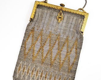 Magnificent Antique Gold, Silver and Bronze micro Bead Evening Bag w/ Brass strap/Antique Deco Handbag Kiss Lock- Embossed garland Frame