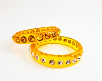 Stunning Duo of Gold and Yellow Acrylic Bangles Studded with Rows of Rhinestones