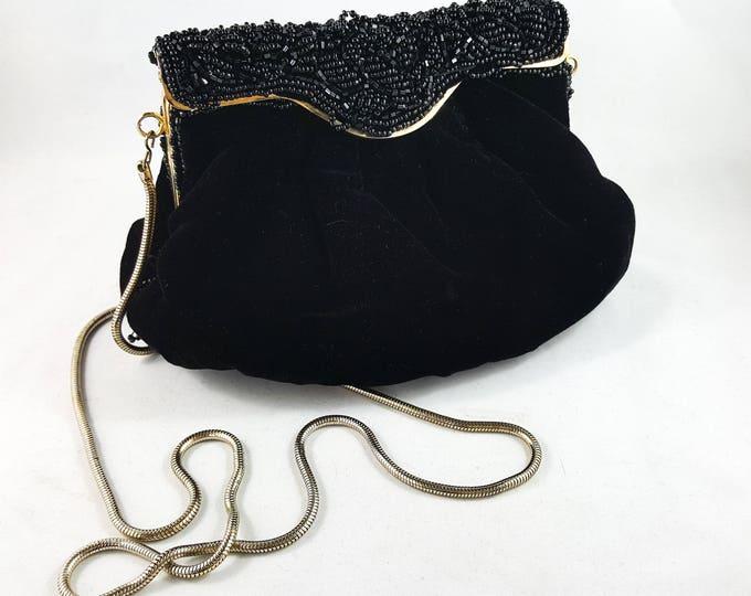 Fabulous 1960's Vintage Black Velvet Brass Latch Handbag