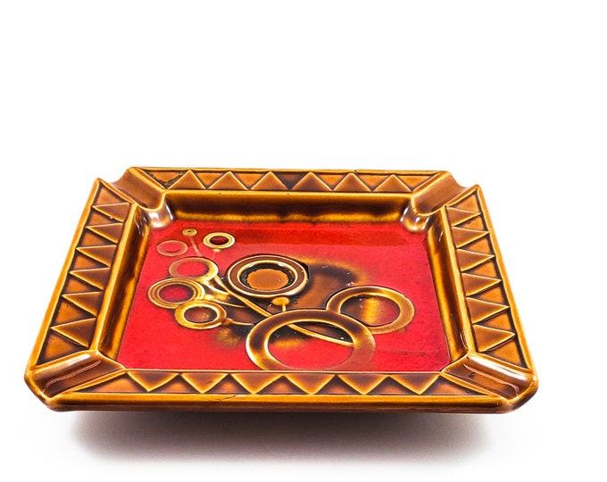 Fabulous Mid Century Square Amber and Red Ashtray/Trinket Dish with Stylized Floral Frond with Amber Circles