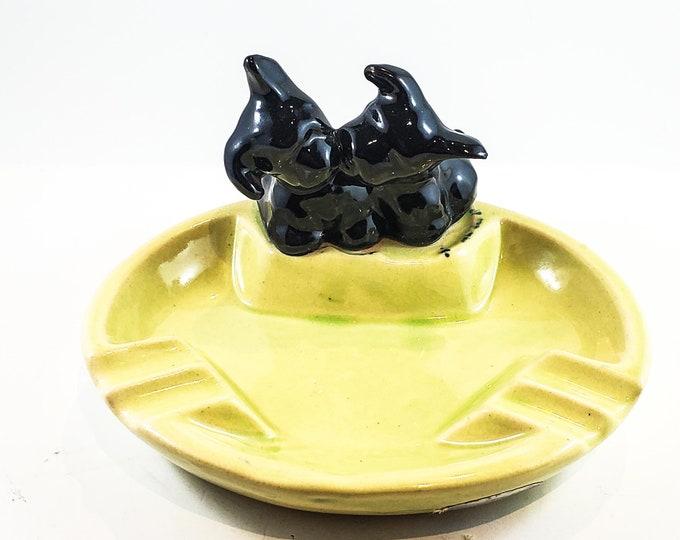 Adorable Yellow Puppy Ceramic Ashtray/Trinket Dish with 2 Black pups/scotties motif.