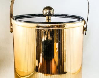 Vintage Gold & Lucite Ice Bucket