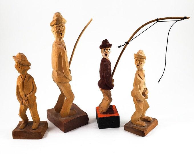Vintage Audet carved folk art Fishermen figures -Canadian Traditional Quebec Hand Carved wood Folk art Sculpture figures, 4 Fishermen