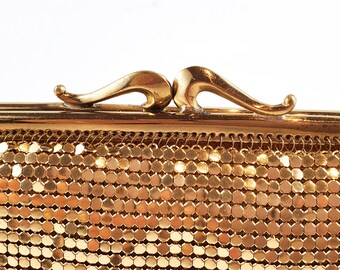 Gorgeous Vintage 1950's Gold MESH Bag with Chain and Yellow Satin Lining