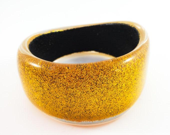 Gorgeous Gold Glitter Star Acrylic Asymmetrical Bangle