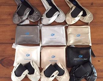 Cinderollies bridesmaid gift,bridesmaid slippers,bridesmaid shoes,bridesmaid flats,wedding flats,wedding shoes,foldable flats,bridal flats