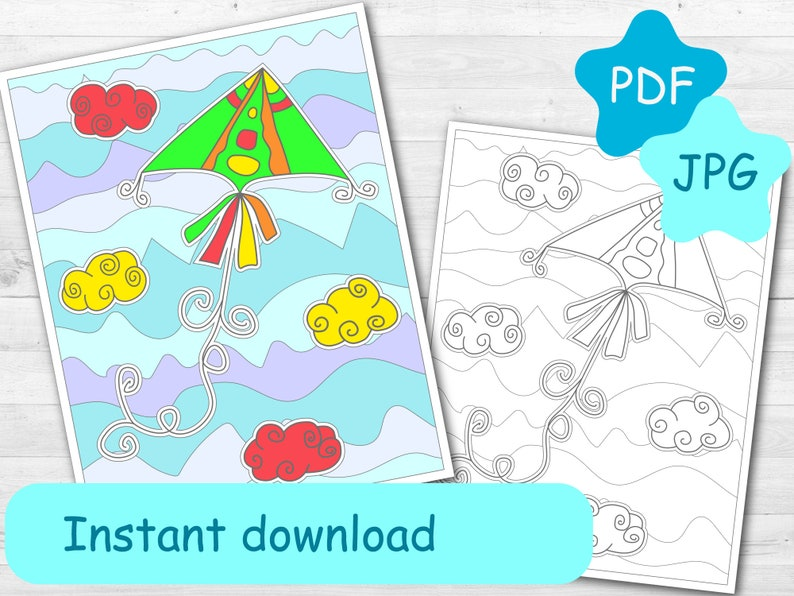 6 adult coloring pages, digital colouring book for adult: Sky, clouds,  kite. printable coloring sheets, instant download, printable pdf, jpg