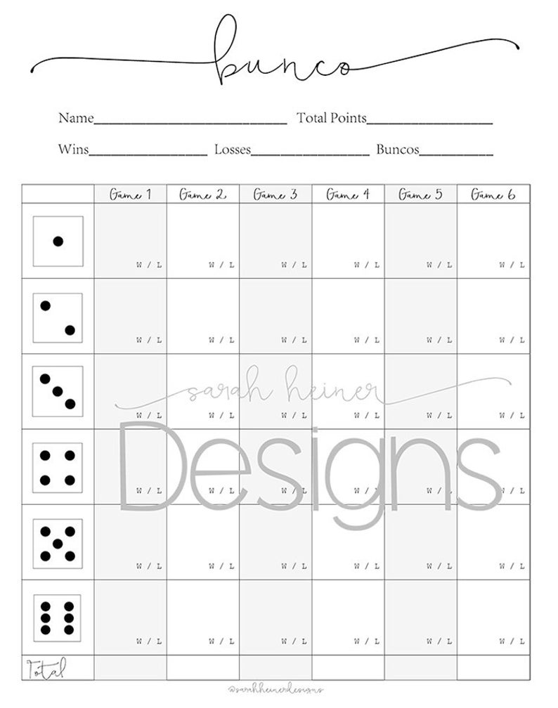 This is a photo of Exhilarating Bunco Tally Sheets Printable