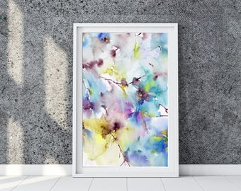 Floral painting. Abstract flowers print. Watercolor printable art. Blue flowers painting for print. Instany download flowers. Fine art.