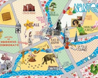 """Carte postale """"Nantes subjective"""" (plan de Nantes)"""