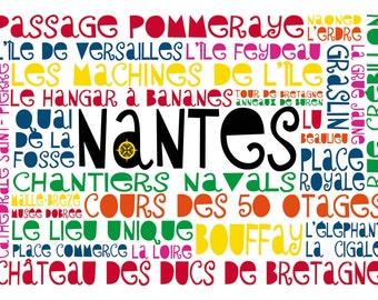 """Carte postale """"Nantes géographique"""" (les lieux de Nantes)"""