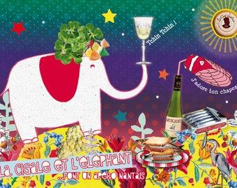Carte postale La cigale et l'éléphant et l'apéro de Nantes