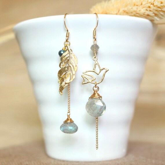925 Sterling Silver Bird Feather Stud Earrings Dangle Drop Chain