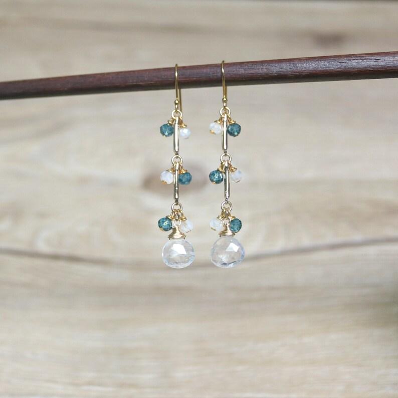 moonstone earrings Dangle /& Drop Earrings Rainbow moonstone and London Blue Topaz drop earrings clip on earrings gemstone earrings