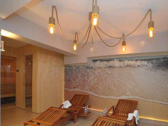 ~80 marine light,beach house,seaside decor,marine style nautical decor sailing rope for 5 light bulbs 200cm Rope long pendant light
