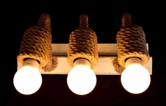 Lampadario corda e legno lampadario in stile rustico in legno e