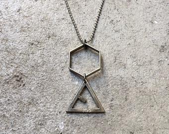 Hexa/LIO Triangle NECKLACE long / ball chain / ballchain / hexagon / steel / silver / brass / brass