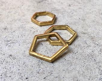 HEXA/PENTA Ring thick / Hexagon / Pentagon / Polygon Collection / Geometric Jewelry / Brass / Messing