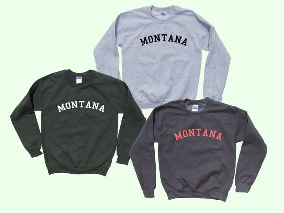 State Of Montana Adult Crewneck Sweatshirt College Letter