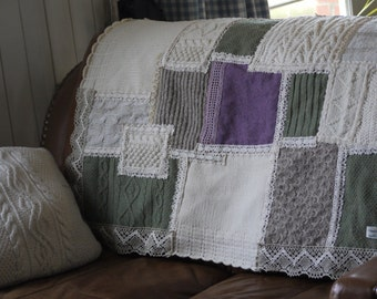 SALE PRICE - Hand Sewn Sofa Throw - Cream/Green/Purple