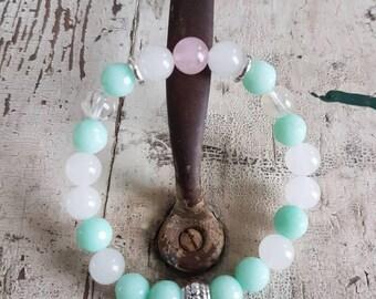 Soft Bracelet, Rose Quartz and Jade Bracelet