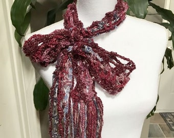Red Burgundy Pink Lightweight Thin Mesh Spring Crochet Scarf ~ Any Season Scarf ~ Long Fringe Scarf ~ Boho Trendy Hippie Gypsy